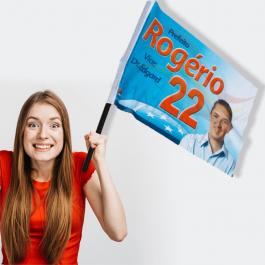 Bandeira de Tecido Tecido Microfibra - Sublimática 90cm x 120cm 4x0  Bastão Madeira
