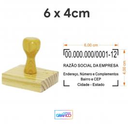 Carimbo Madeira CNPJ  Área útil: 6cm x 4cm