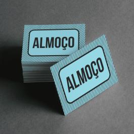 Ficha de Almoço Cartolina 6x4cm Preto e Branco  Corte Reto e Cola Lateral