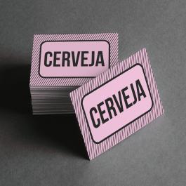 Ficha de Cerveja Cartolina 6x4cm Preto e Branco  Corte Reto e Cola Lateral