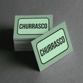 Ficha de Churrasco Cartolina 6x4cm Preto e Branco  Corte Reto e Cola Lateral
