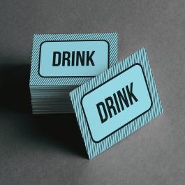 Ficha de Drink Cartolina 6x4cm Preto e Branco  Corte Reto e Cola Lateral