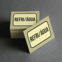 Ficha de Refri + Água Cartolina 6x4cm Preto e Branco  Corte Reto e Cola Lateral